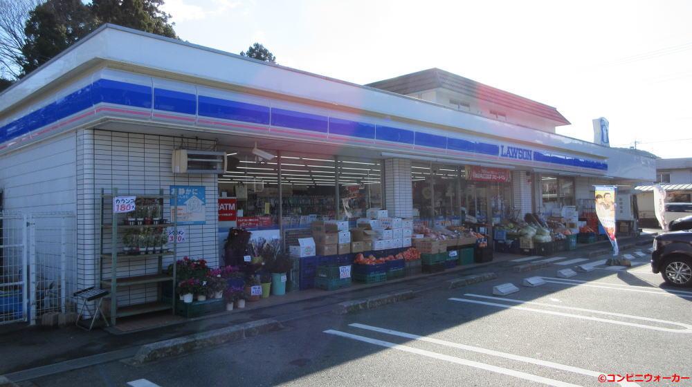 ローソン新城庭野店 野菜と果物で占領された店頭