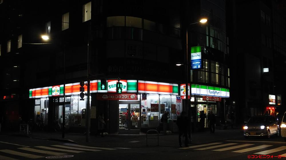 サンクス上野入谷口店とファミリーマート上野駅入谷口前店