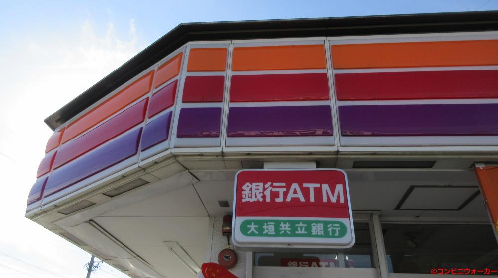 サークルK北岡崎店 ファサード看板と銀行ATM看板